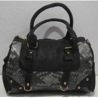 Женская комбинированная сумка (чёрная) 18-02-001