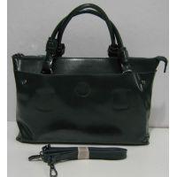 Женская кожаная сумка на три отделения (зелёная) 18-02-034