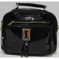 Женская  лаковая сумка - рюкзак  (чёрная) 18-09-156