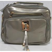 Женская  лаковая сумка - рюкзак  (серая) 18-09-156
