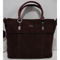 Женская замшевая сумка (бордовая) 19-02-009