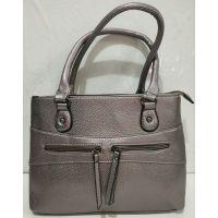 Женская сумка с замочками (тёмно-серебряная) 19-07-004