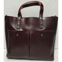 Женская кожаная сумка (бордовая ) 19-08-025
