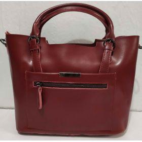 Женская кожаная сумка (бордовая) 19-08-026