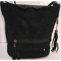 Женская замшевая сумка кросс- боди (чёрная)  19-10-078