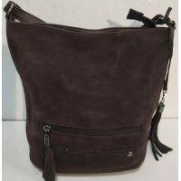 Женская замшевая сумка кросс- боди (шоколадная)  19-10-078