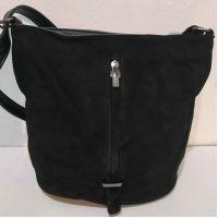 Женская замшевая сумка кросс- боди (чёрная)  19-10-079