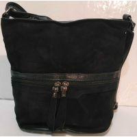 Женская замшевая сумка кросс- боди (чёрная)  19-10-080