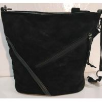 Женская замшевая сумка кросс- боди (чёрная)  19-10-081