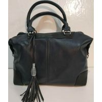 Женская сумка с кисточкой (синяя с чёрными вставками)  19-10-087