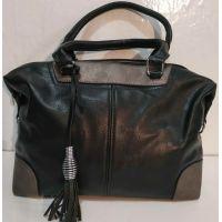 Женская сумка с кисточкой (чёрный с серымми вставками)  19-10-087