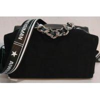 Женская замшевая сумка-клатч (чёрная) 19-10-093