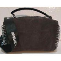 Женская замшевая сумка-клатч (коричневая) 19-10-094
