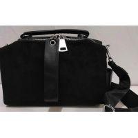 Женская замшевая сумка-клатч (чёрная) 19-11-035
