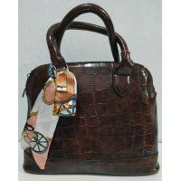 Женская глянцевая сумка (шоколадная) 20-01-002