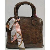 Женская глянцевая сумка (коричневая) 20-01-002