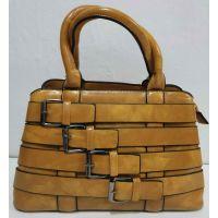Женская глянцевая сумка с ремешками (жёлтая) 20-01-005