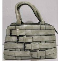 Женская глянцевая сумка с ремешками (серая) 20-01-005