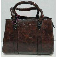 Женская глянцевая сумка (шоколадная) 20-01-006