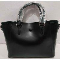 Женская кожаная сумка на три отделения (чёрная) 20-02-004