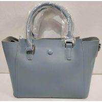Женская кожаная сумка на три отделения (голубая) 20-02-004