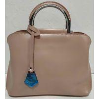 Женская небольшая кожаная сумочка (тёмная пудра) 20-02-005