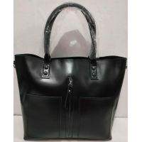 Женская вместительная кожаная сумка (чёрная) 20-02-006