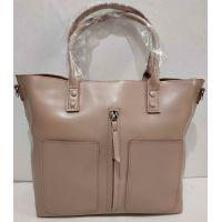 Женская вместительная кожаная сумка (тёмная пудра) 20-02-006
