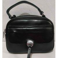 Женская кожаная сумка кросс-боди (чёрная) 20-02-011