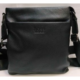 Мужская кожаная сумка - планшет  (чёрная) 20-12-033