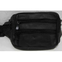 Мужская кожаная сумка-бананка (чёрная) 18-10-087