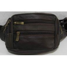 Мужская кожаная сумка-бананка (коричневая) 18-10-087